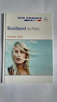 Air France Scotland to Paris Timetable Summer 2003
