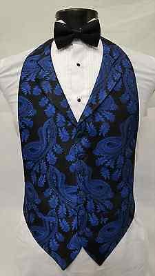 Mens Size Small Royal Blue Vest Black Bowtie Tuxedo Paisley Cheap Tie Vintage (Vests For Men Cheap)