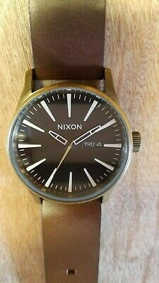 Nixon Sentry Leather Men's Wristwatch with Black Dial and Brown Strap -... for sale  Satellite Beach
