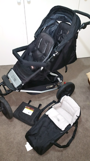 Mountain buggy plus one double pram with cocoon