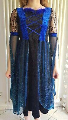 Kostüm Hexe Größe 140 blau Konfetti Modelle Halloweengut - Blau Hexe Kostüm