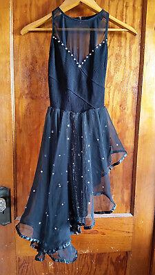 Skater Dance Costume Size Small Black Gem Embellished Skirt Flows Feminine - Feminine Costumes