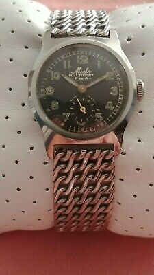 Vintage All S/S Mido Multifort Swiss Bumper Super Automatic Military WW2 Watch.