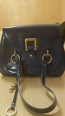 Italy AB A. BELLUCCI Blue Genuine Leather Crossbody Shoulder Handbag Bag