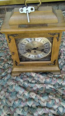 HAMILTON WESTMINSTER CHIME BRACKET MANTLE CLOCK W/KEY- 340-020 W. GERMANY