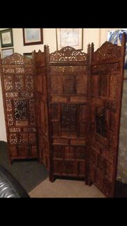 Hand Carved Timber Room Divider Screen 4 Panel Antique