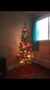 Christmas tree and decorations for sale