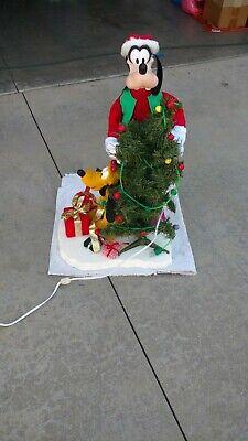 "Santa's Best Disney Animated Goofy Pluto Christmas Tree 27"" Works w/Orig Box"