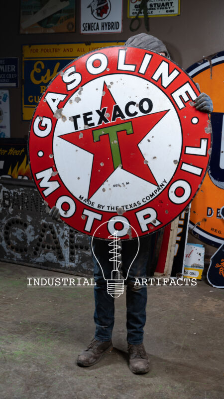 ORIGINAL Texaco DSP Porcelain Sign 42""