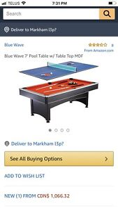 Blue Wave 7' Pool Table w/ Table Top MDF