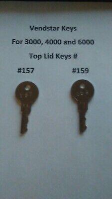 Vendstar 3000 4000 6000 Candy Machines Keys For Top Lid Keys 157 159
