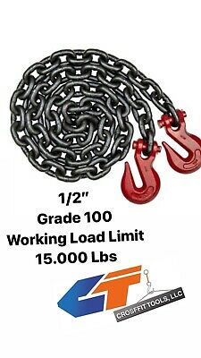 12x10 Chains G-100 Lifting Or Transport Sling Single Leg Grab Hooks Rigging