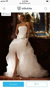 High/Low Organza Ball Gown in Brilliant White