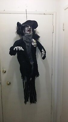 HANGING ZOMBIE PIRATE with hat and eye-patch. 5 FT TALL. Brand new. Retired.