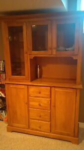 REDUCED Solid wood buffet and hutch. $250 OBO