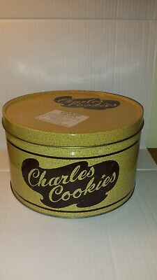 Vintage Charles Cookies Metal Tin Can Canister Sand Tarts Sticker On Lid