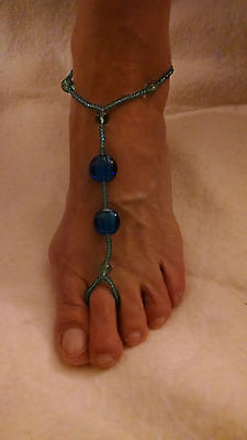 3-Pair Beach Barefoot Sandal Glass Bead Toe Ring Anklet Braclet Foot Jewelry