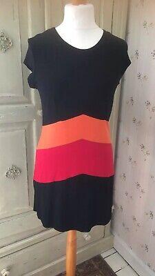 John By John Richmond Ladies Multicolour Black Tee Shirt Dress Size UK14