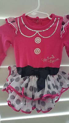 Disney Minnie Mouse Infant tutu dress one piece pink black polka dots 9 nonths - Pink And Black Minnie Mouse Tutu
