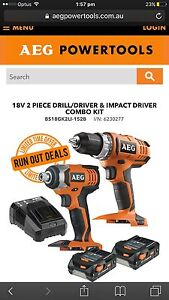 ** AEG Li-Ion 18v 2 PIECE DRILL/DRIVER & IMPACT DRIVER KIT ** North Beach Stirling Area Preview