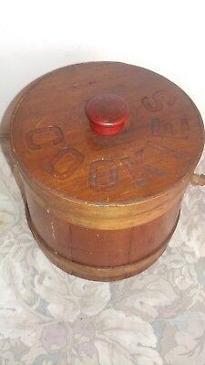 Vtg/ Rare Wooden Sugar Firkin Bucket Cookie Jar