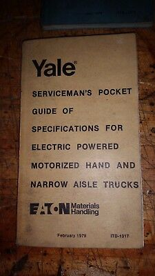 Yale Servicemans Guide Of Specifications Electric Narrow Hand Fork Lift Trucks