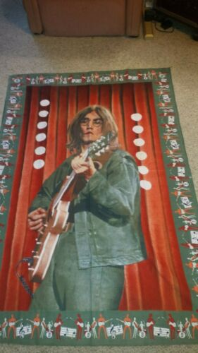 "THE BEATLES JOHN LENNON HUGE TAPESTRY  VINTAGE HUGE WALL HANGING 53"" X 35"""