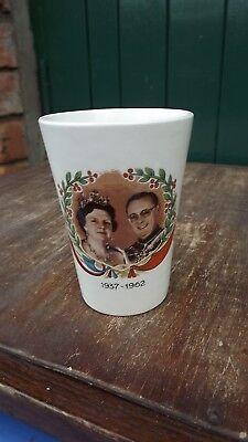 1962 Silver Wedding Queen Juliana Netherlands Pottery Beaker with portraits