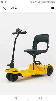 Easy Fold Portable Lightweight Folding Mobility Scooter 4 Wheel 4mph - yellow