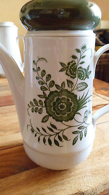 Kaffeekanne weiß-grün, Kahla, H ca 20 cm, gebraucht, ohne Mängel