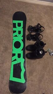 Prior Snowboard with bindings and boots