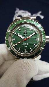 Vostok Amphibia Neptune Green No Date Dial Limited Edition Auto Divers Watch - España - Vostok Amphibia Neptune Green No Date Dial Limited Edition Auto Divers Watch - España
