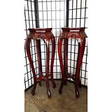 """Set of (2) Hand-Carved Stands with Marble Top 36"""" Chy Finish"""