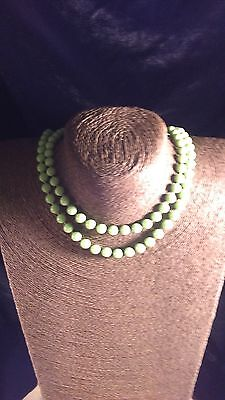 60s -70s Jewelry – Necklaces, Earrings, Rings, Bracelets Vintage Green Plastic Necklace 1960's $49.99 AT vintagedancer.com