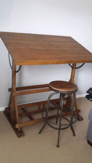 Old fashioned wooden draughtsman desk and stool Kahibah Lake Macquarie Area Preview