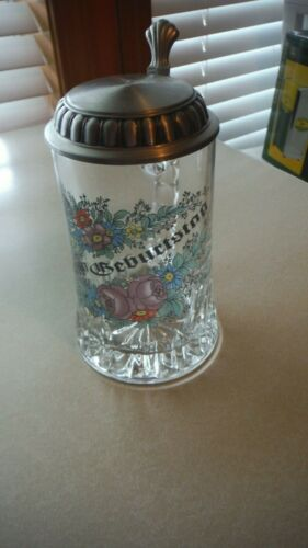 GERMAN glass BEER stein with pewter lid, Floral design, EUC