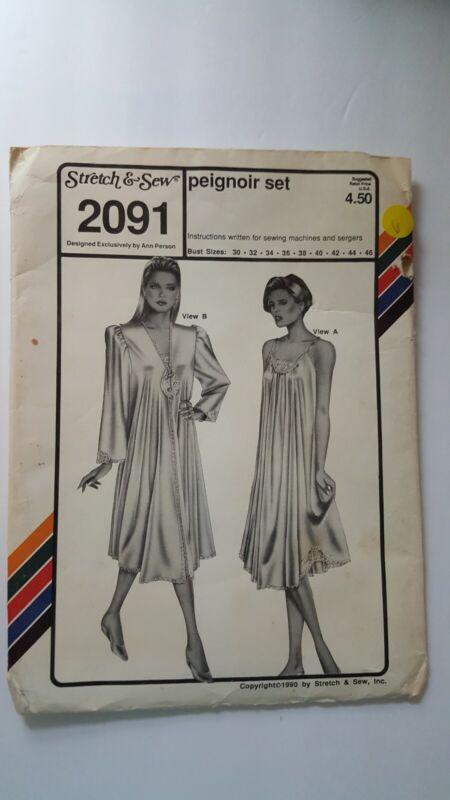Stretch & Sew Pattern 2091 Peignoir Set Bust Sizes 32 Through 46 Uncut 1990