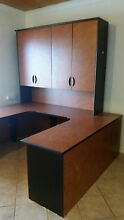 Large U-Shaped Office Desk with Cupboards & Filing Cabinet South Yunderup Mandurah Area Preview