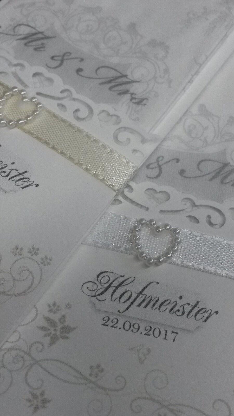 """10 Stück Taschentücher in Etuis, """"Mr.&Mrs. edles Elfenbein"""" - personalisiert"""
