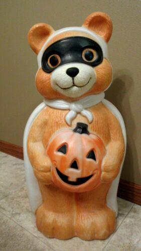 """Vtg Empire Halloween Masked Bandit Lighted Teddy Bear Pumpkin Blow Mold-23"""" Tall"""