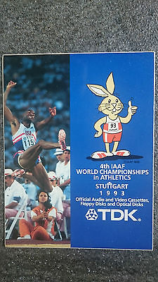 Aufkleber 4th IAAF World Championships in Athletics 1993 Stuttgart TDK Rarität!