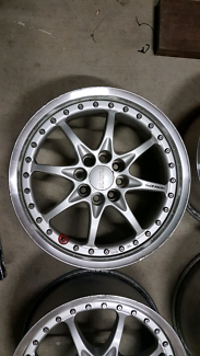 "Genuine set Rays GRN 15"" 4x100 silver volk racing jdm wheels rims"