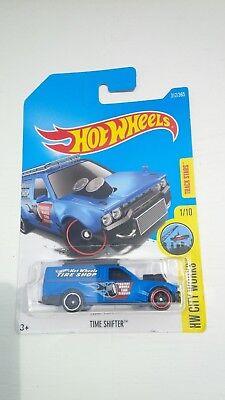 Hot wheels hw city works timeshifter tire shop die cast blue repair truck toy110