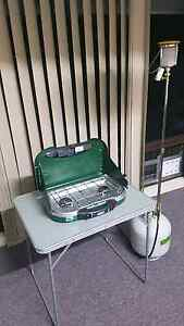 Camping stove table 9 kilo gas bottle and gas lantern Highland Park Gold Coast City Preview