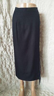 IRIS VON ARNIM  full wrap navy high waisted fringe skirt size S