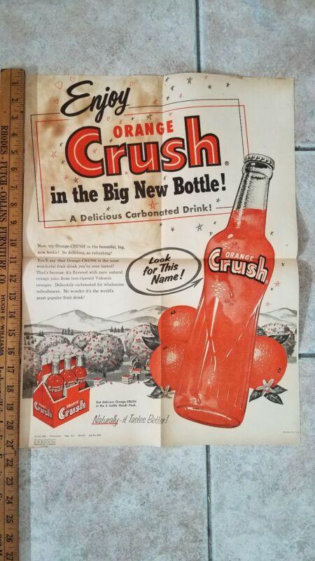Rare 1955 Orange Crush Soda Promotional Poster Salesman Ad Vintage Sign Store