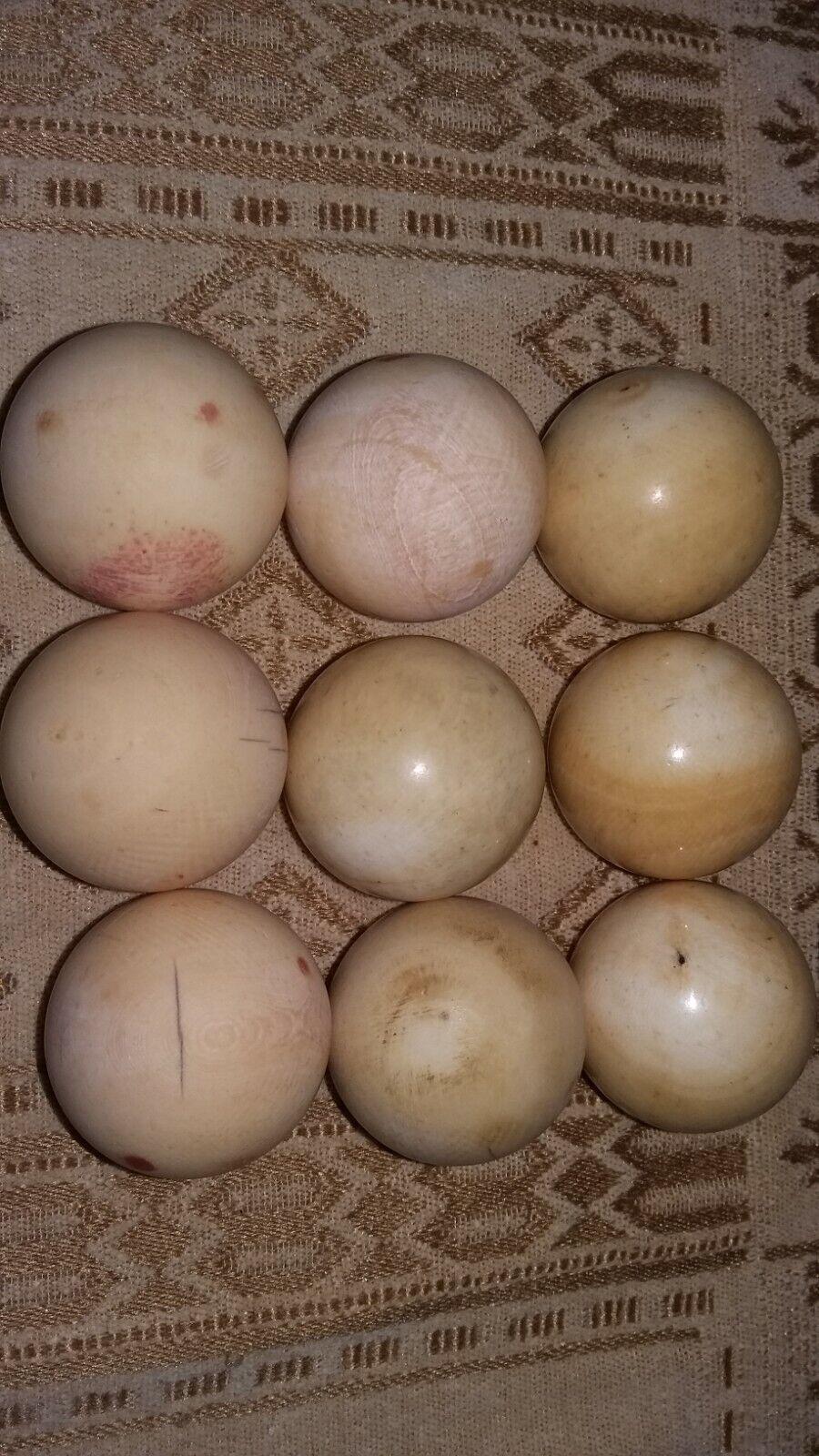 9 antique,19th century snooker,billiard balls,weight  12.3 oz