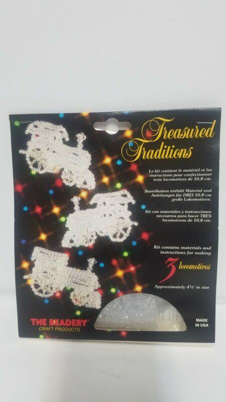 Vintage The Beadery Christmas Ornament Kit Makes 3 Crystal Locomotives Trains
