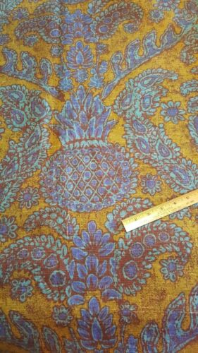 "Vintage Vat Dyed 100% Linen Home Decorating Fabric Blues Browns 3 Yds 24"" x 54"""