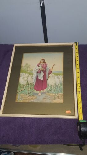 ANTIQUE JESUS WITH FLOCK OF SHEEP PRINT IN ORIGINAL Frame Holding Lamb - $16.00